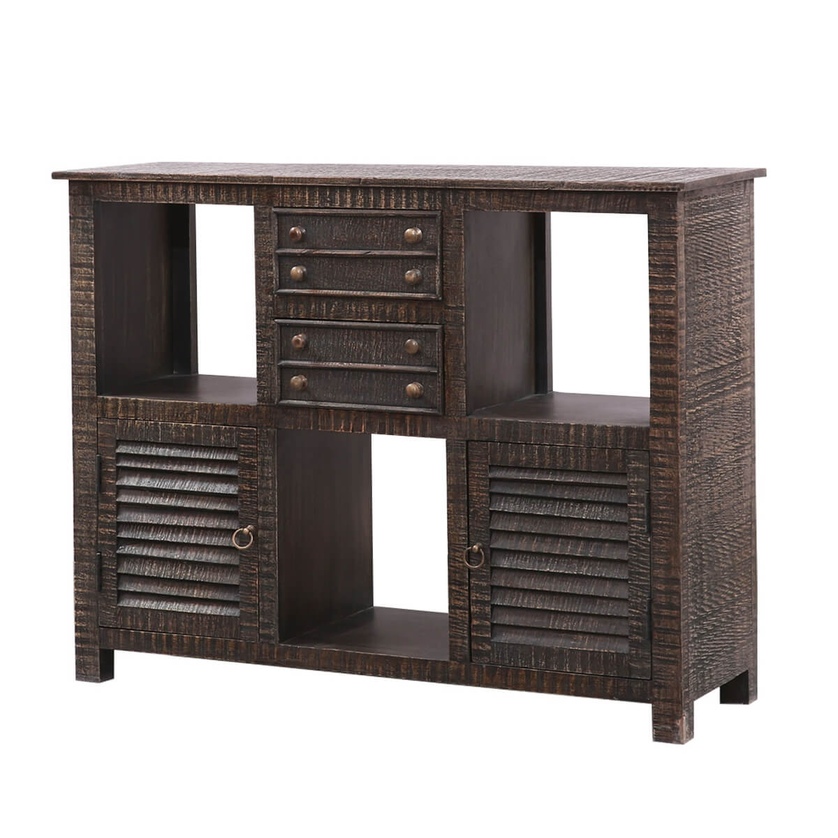Chiltern Rustic Solid Wood Contemporary Style TV Stand Media Cabinet