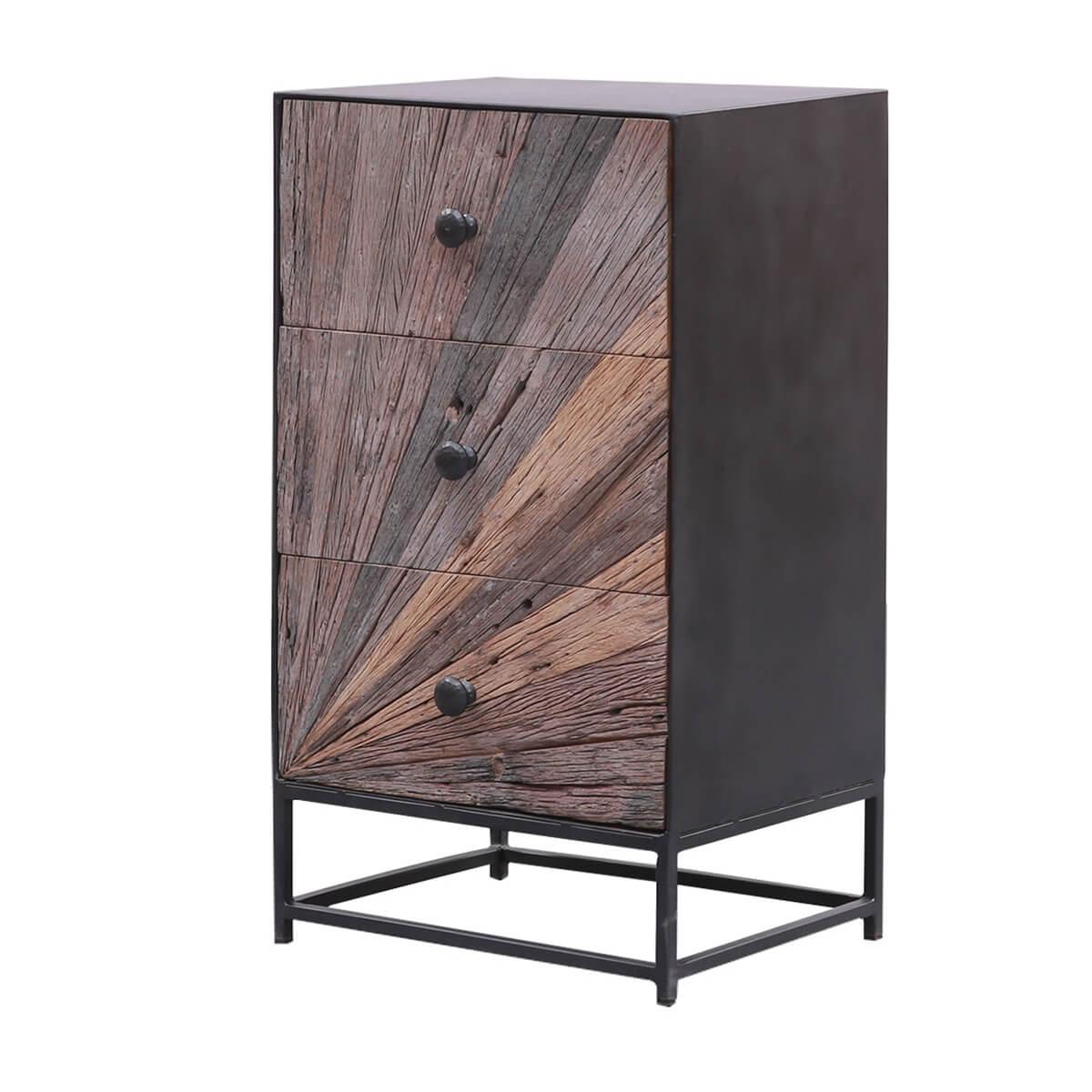 Corsica Sunburst Modern Rustic Solid Teak Wood & Iron Tall Dresser