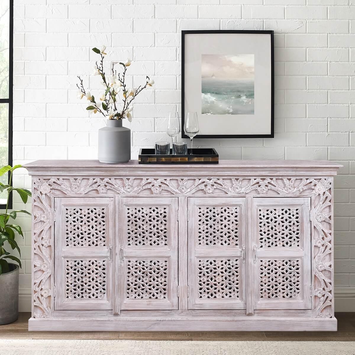 Seymour Rustic Solid Wood Lattice Door White Large Sideboard Cabinet