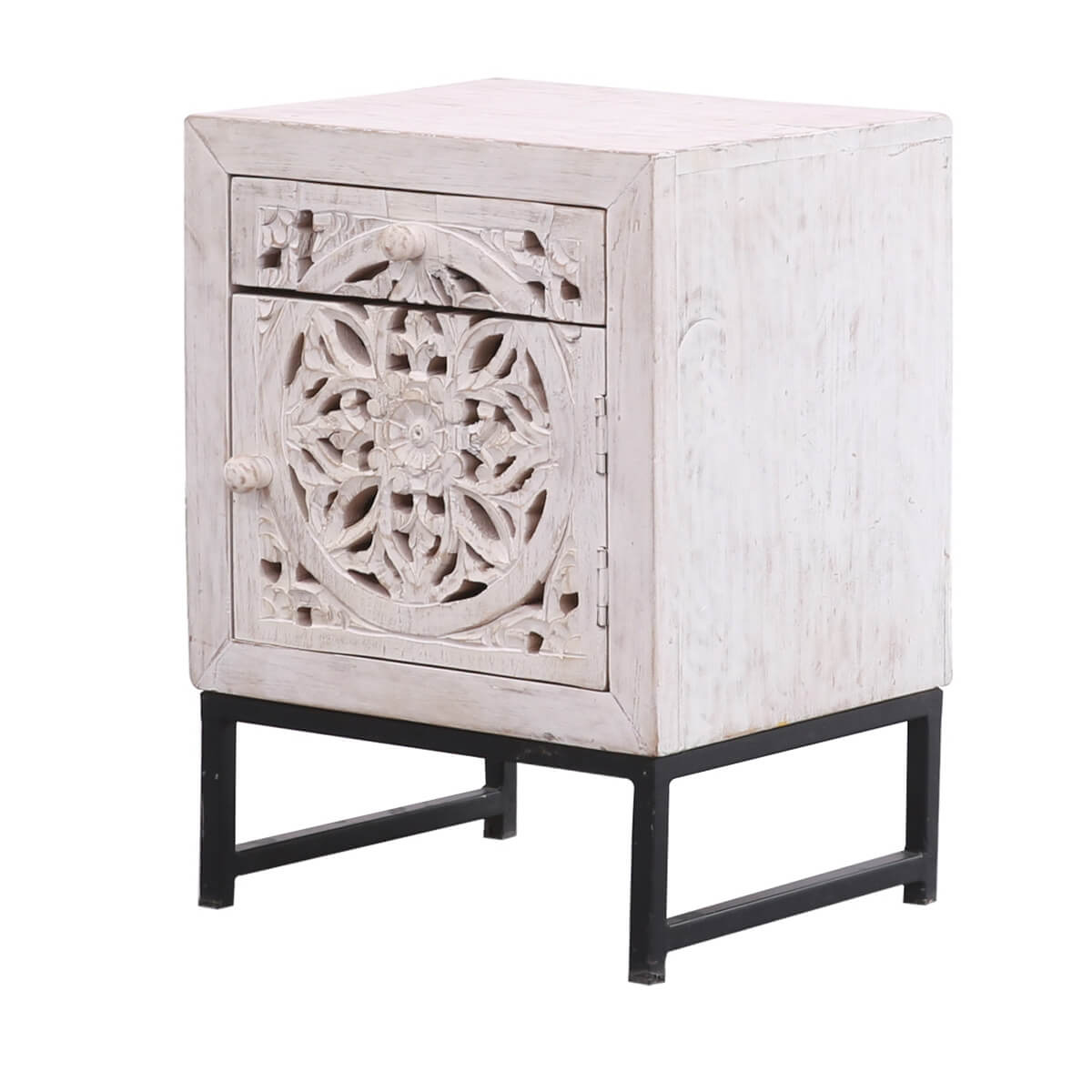 Buderim Solid Wood Hand-carved 1 Drawer White Nightstand