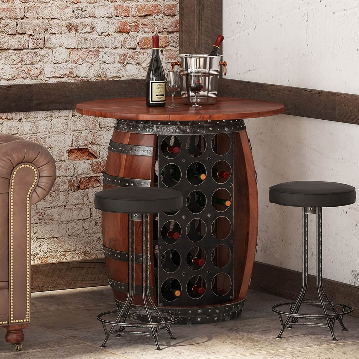 Jungfrau Industrial Solid Wood and Iron Round Barrel Base Bar Table