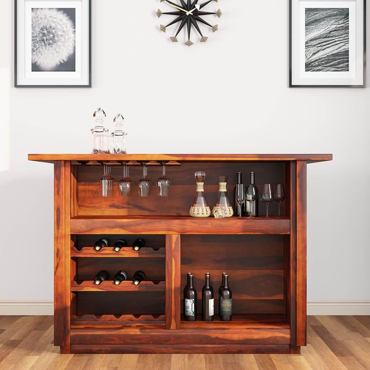 Lugano Solid Wood Rustic Wine Bar StorageTable