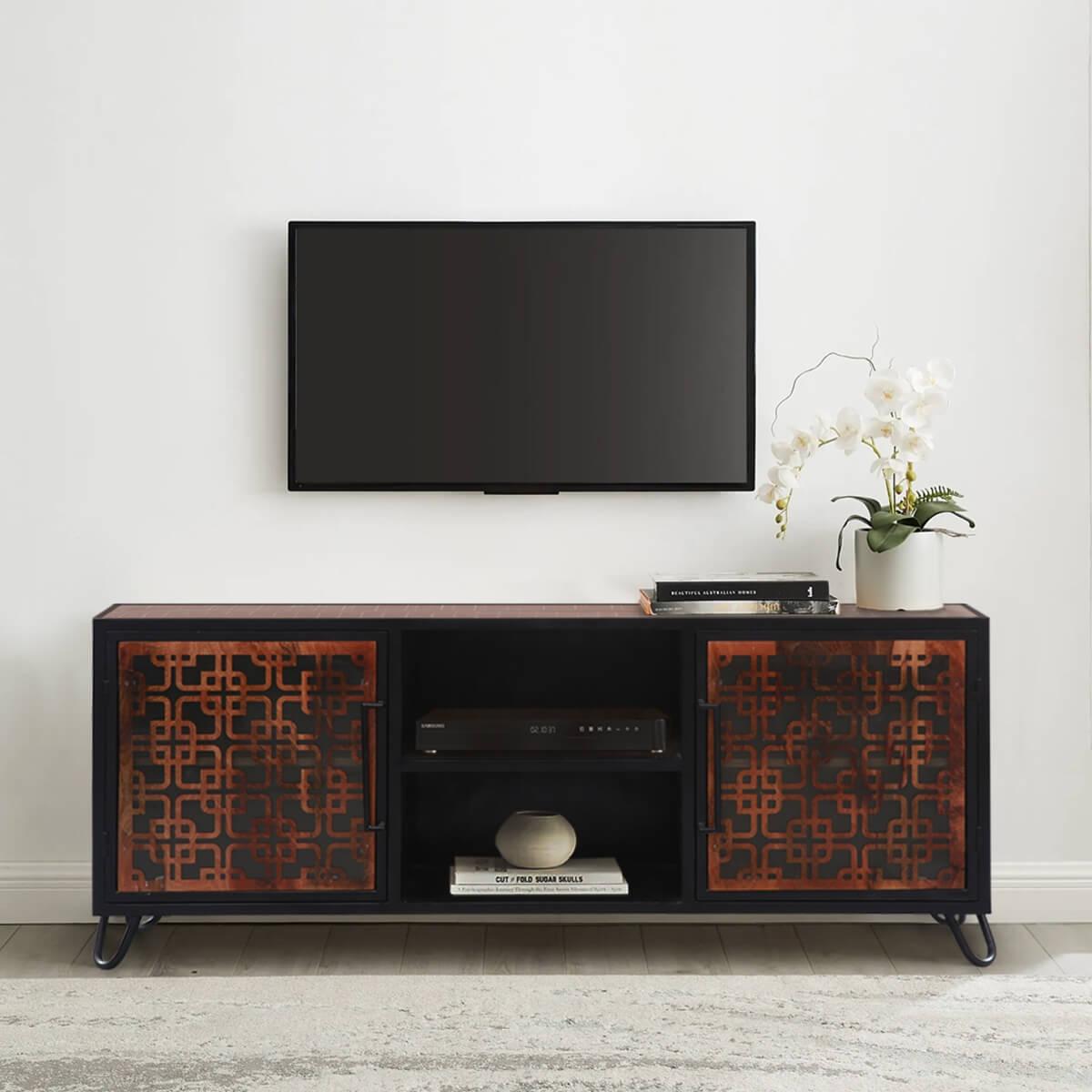 La Baule Solid Teak Wood Modern Rustic TV Media Cabinet