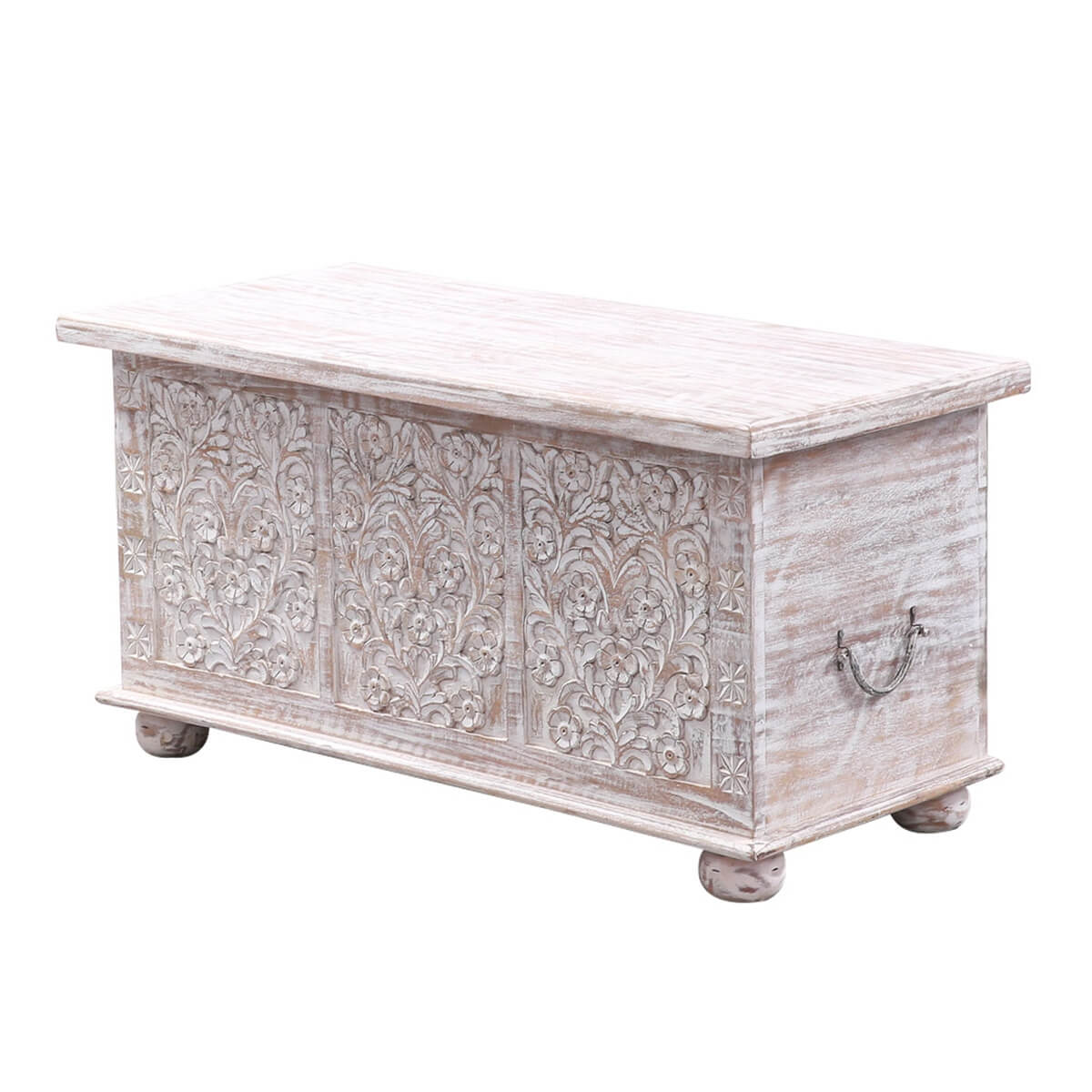 Abruzzo Floral Hand-Carved Solid Wood Storage Coffee Table Trunk