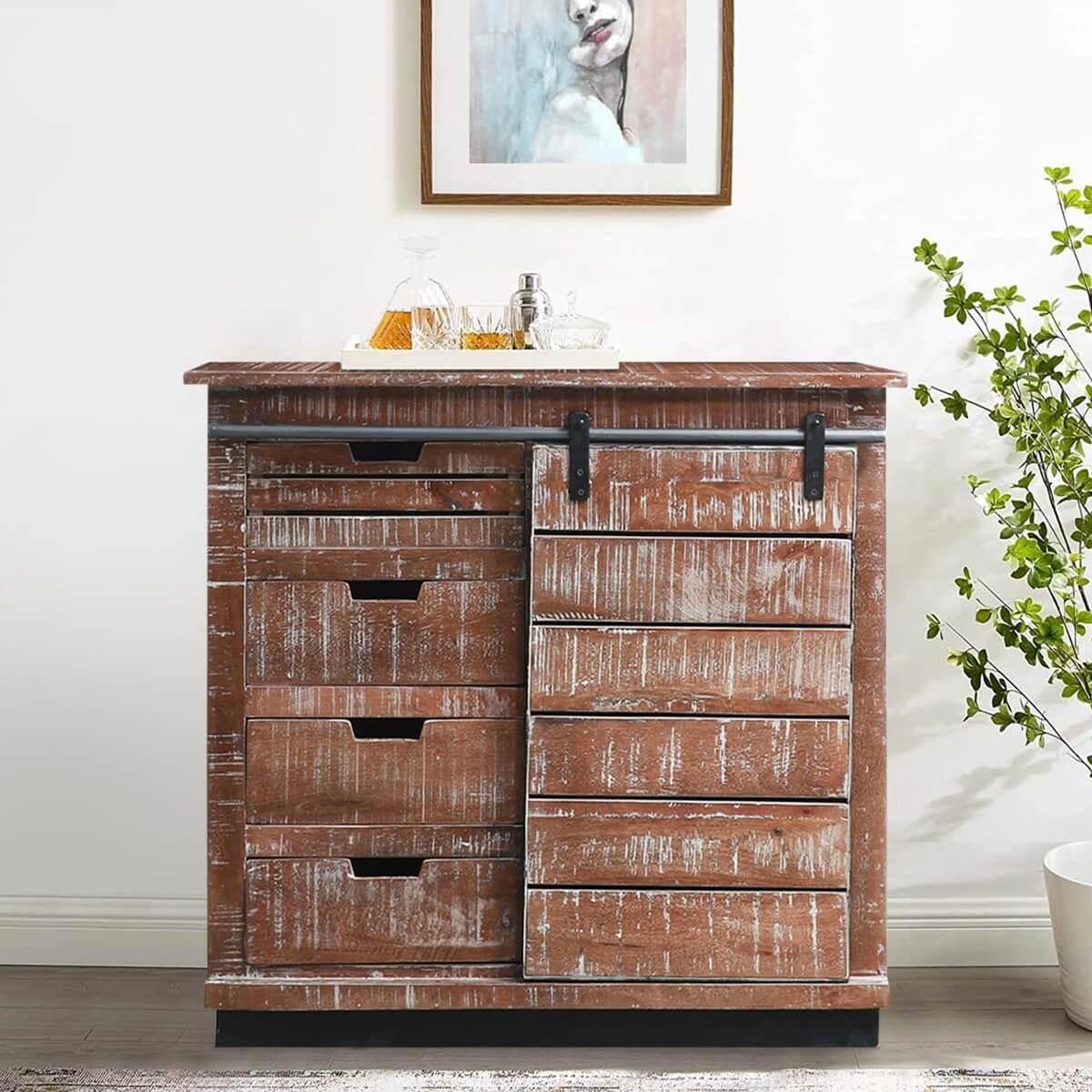 Potenza Rustic Solid Wood Sliding-Door Antique Storage Cabinet