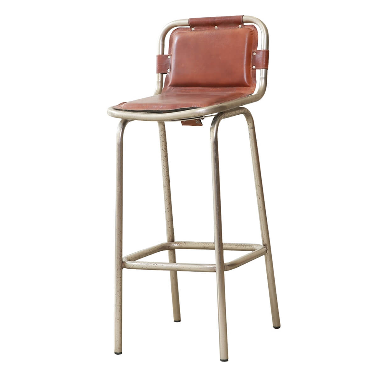 """Cortona Leather Seat Industrial 41"""" Accent Bar Chair"""