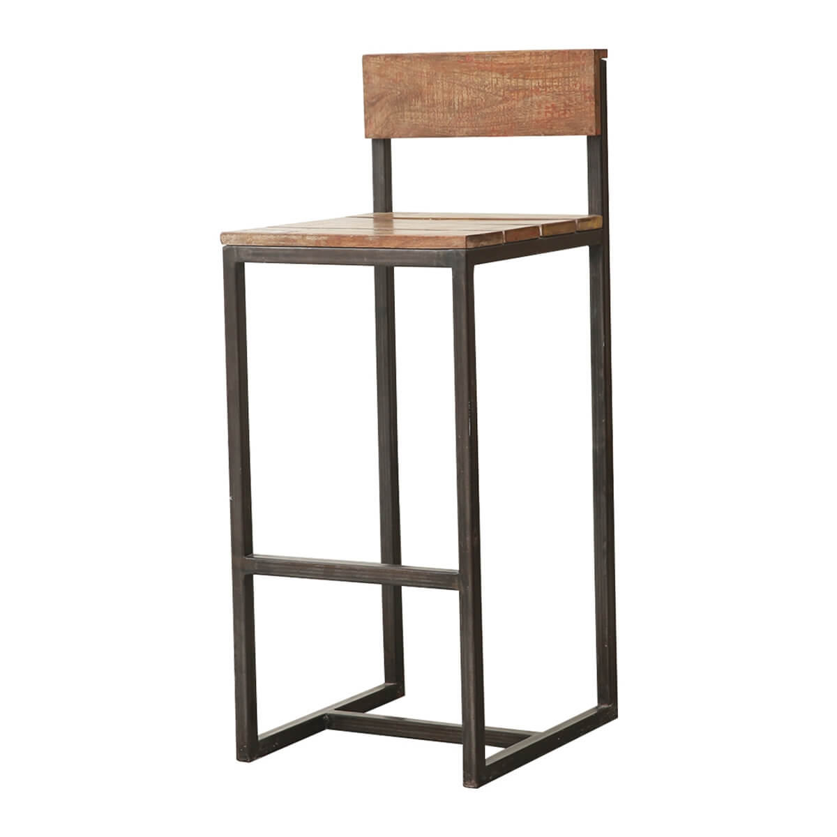 Prato Rustic Solid Wood Industrial Accent Bar Chair