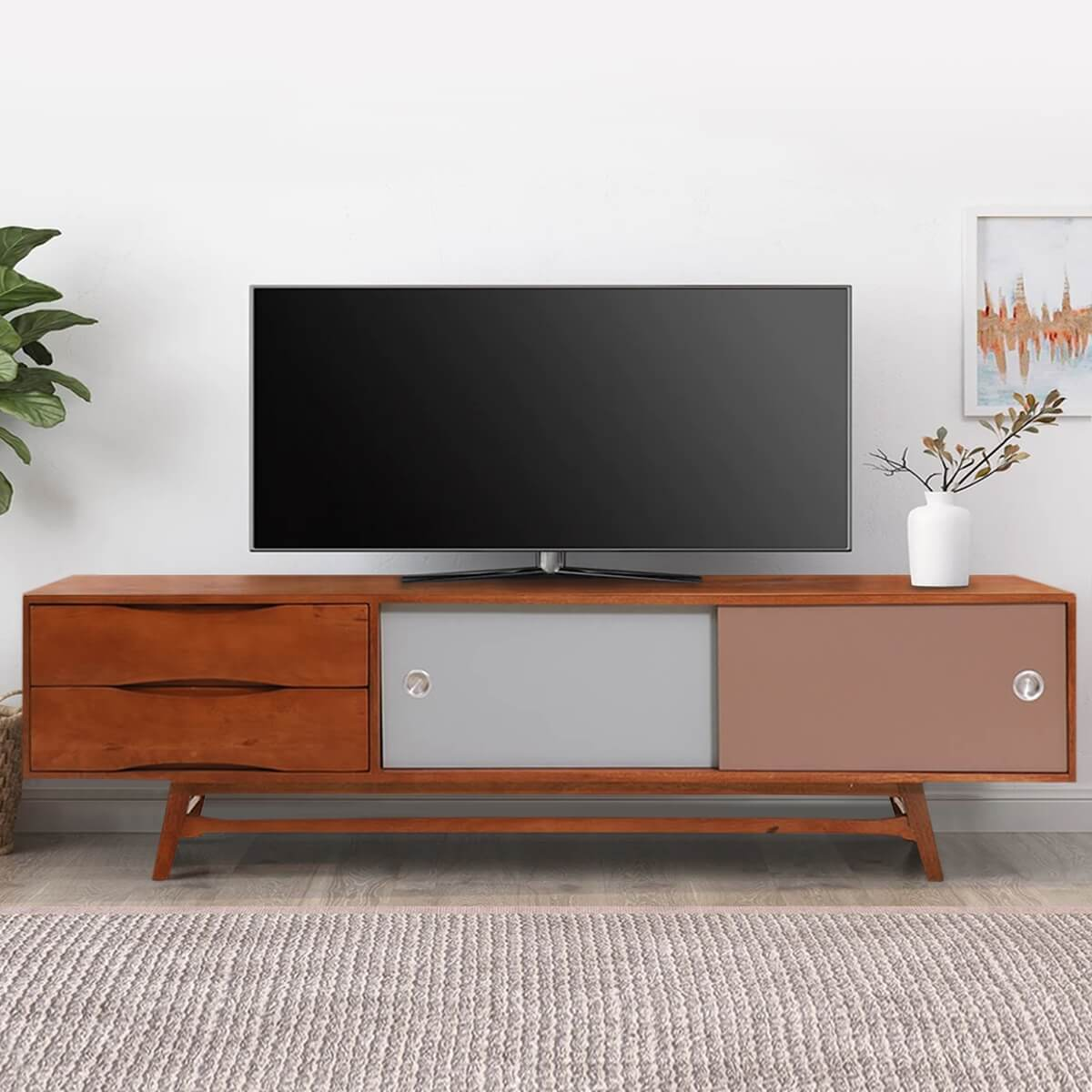 Denton Solid Wood Mid-Century TV Media Cabinet With 2 Drawers