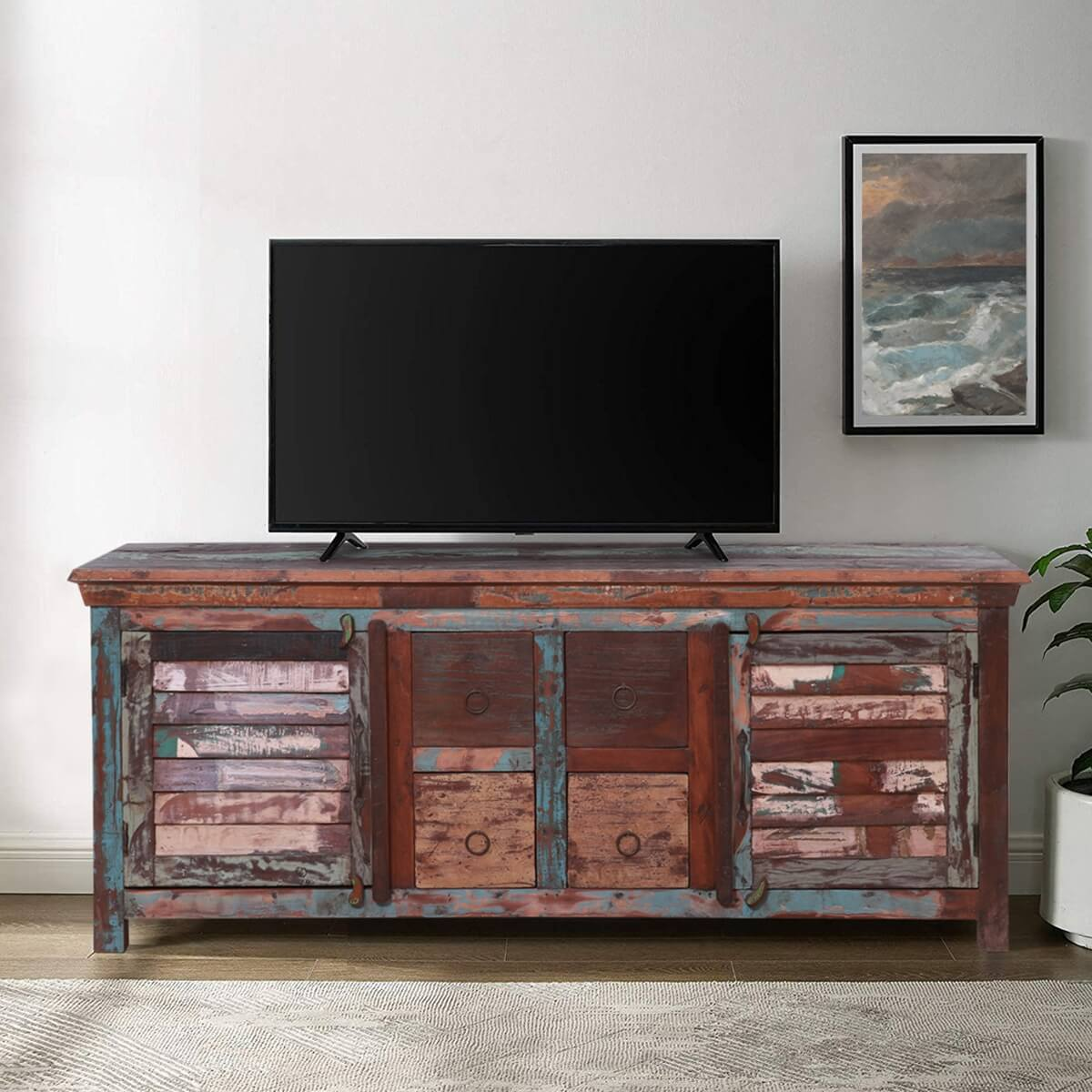 Reclaimed Wood 4 Drawer 60 TV Stand Media Cabinet