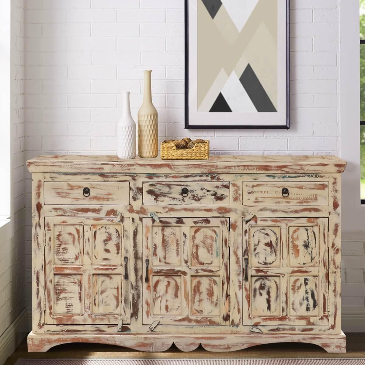 Ain Sefra Solid Wood 3 Drawer Large Sideboard Cabinet