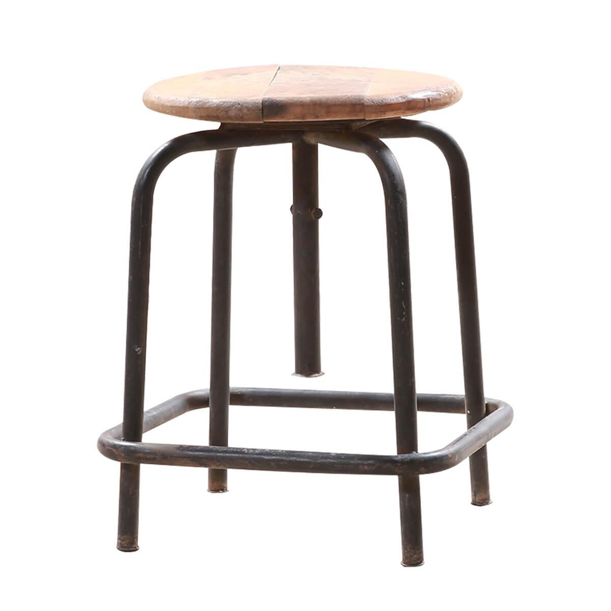 "Solid Wood 17"" Round Bar Stool"