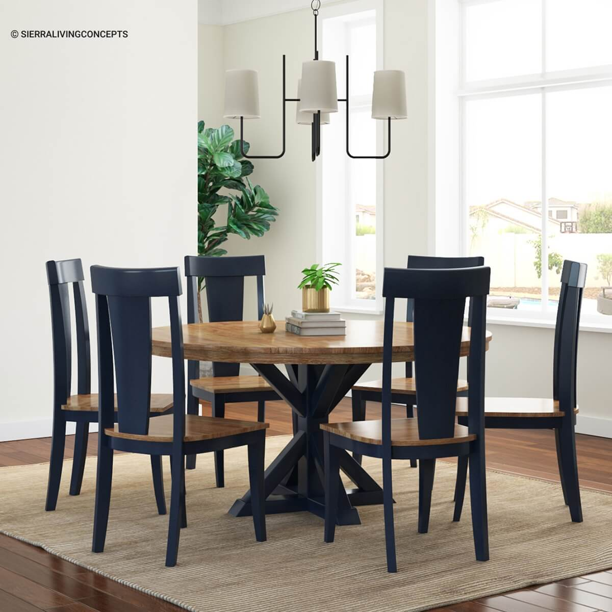 Salzburg Two Tone Solid Wood Dining Table Chair Set