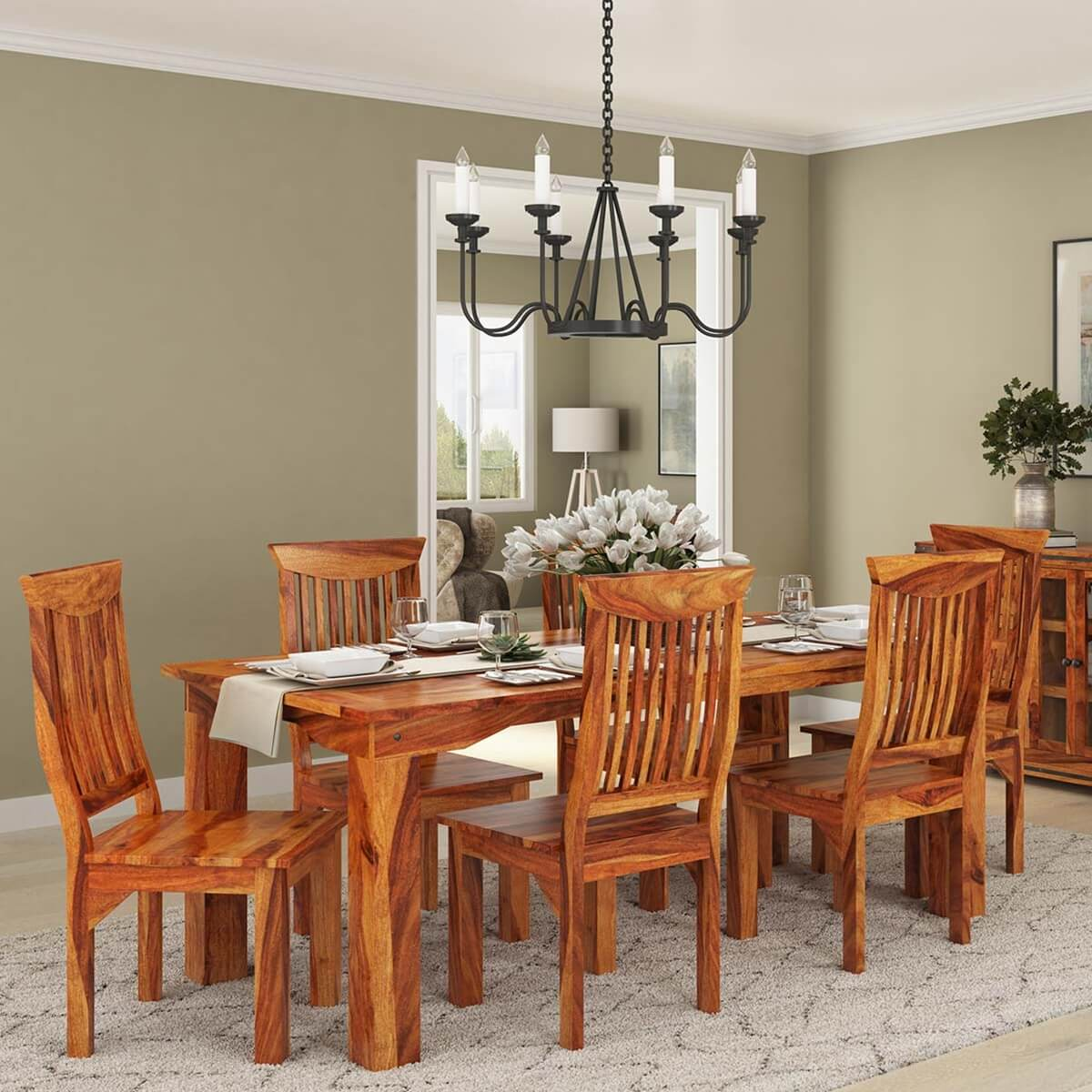 Solid Wood Kitchen Tables: Idaho Modern Rustic Solid Wood Dining Table & Chair Set