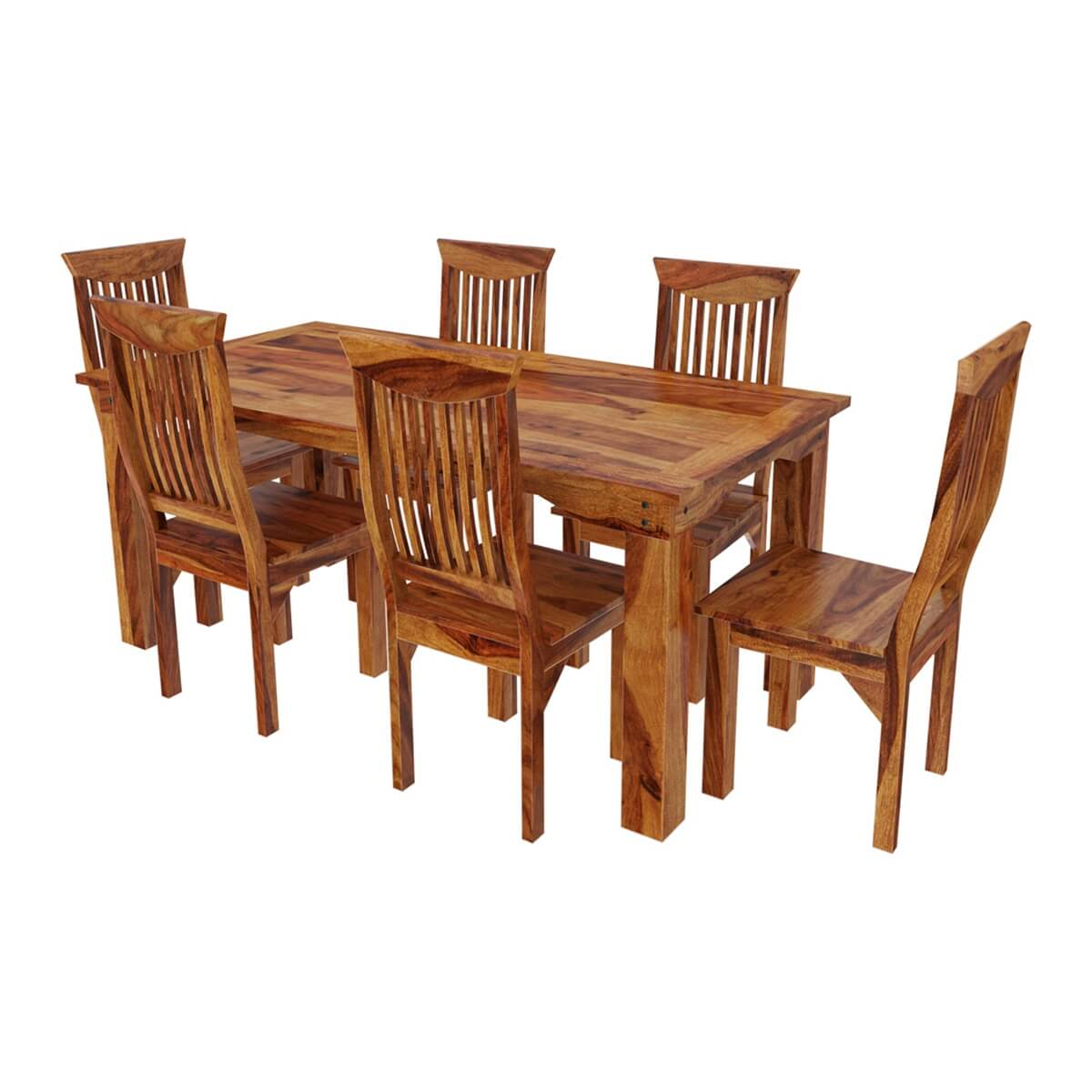 Nottingham Solid Wood Large Rustic Dining Room Table Chair Set: Idaho Modern Rustic Solid Wood Dining Table & Chair Set