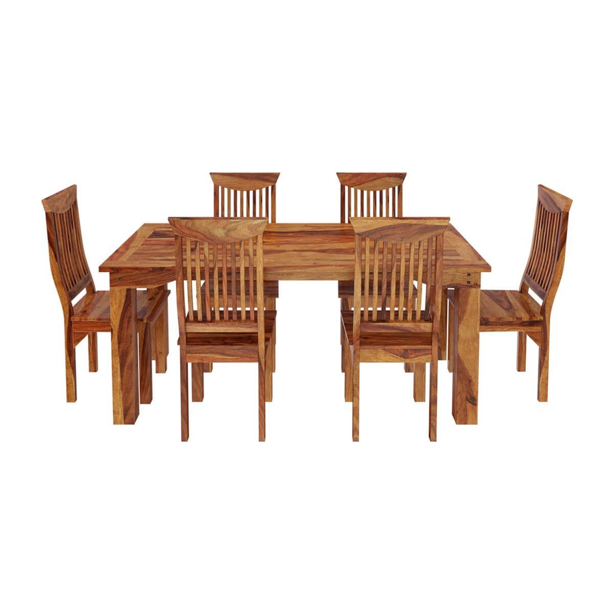 Rustic Furniture Solid Wood Large Dining Table 8 Chair Set: Idaho Modern Rustic Solid Wood Dining Table & Chair Set