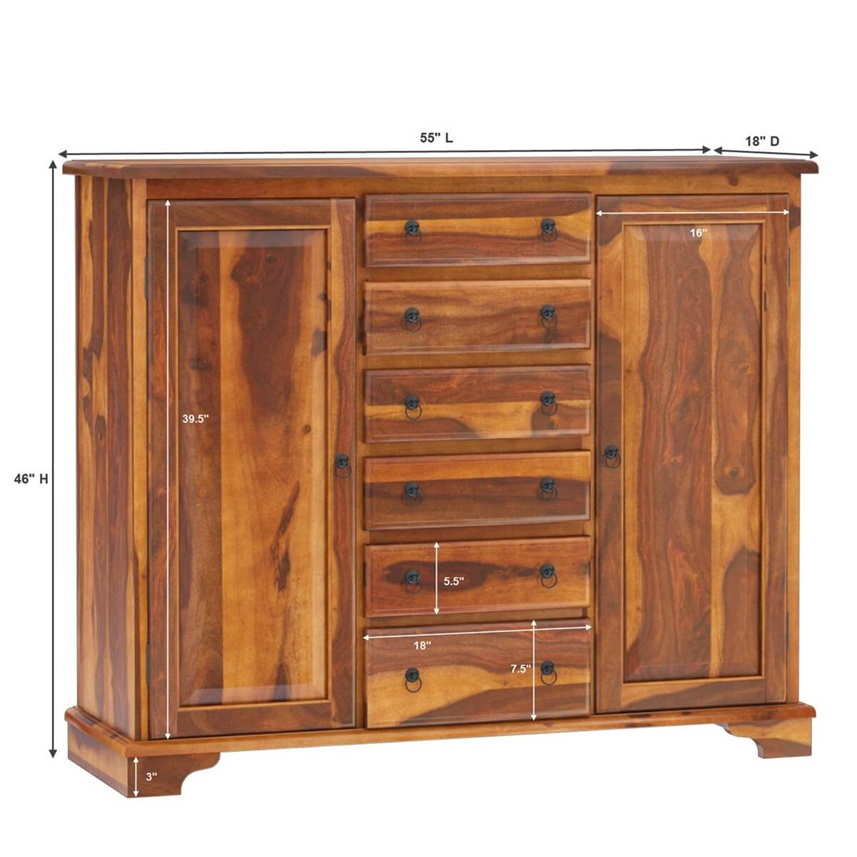 Westmount Solid Wood 2 Cabinet 6 Drawer Tall Sideboard Cabinet