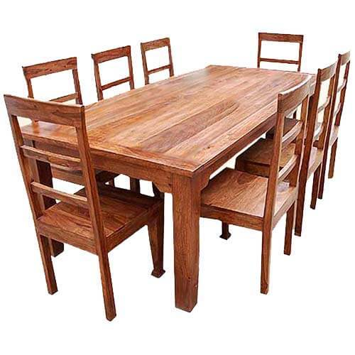 Rustic Farmhouse Solid Wood Dining Table Chair Set
