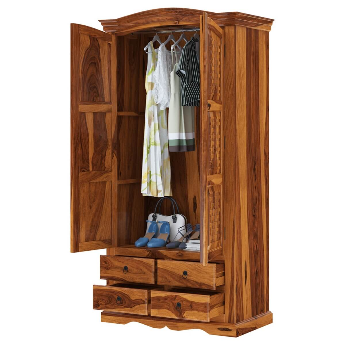 Crawford Rustic Solid Wood Wardrobe Armoire With Drawers ...