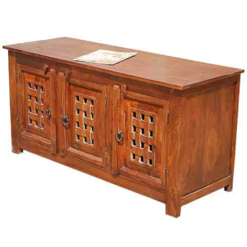 Classic Handcrafted Rustic Solid Wood Entertainment TV Media Cabinet