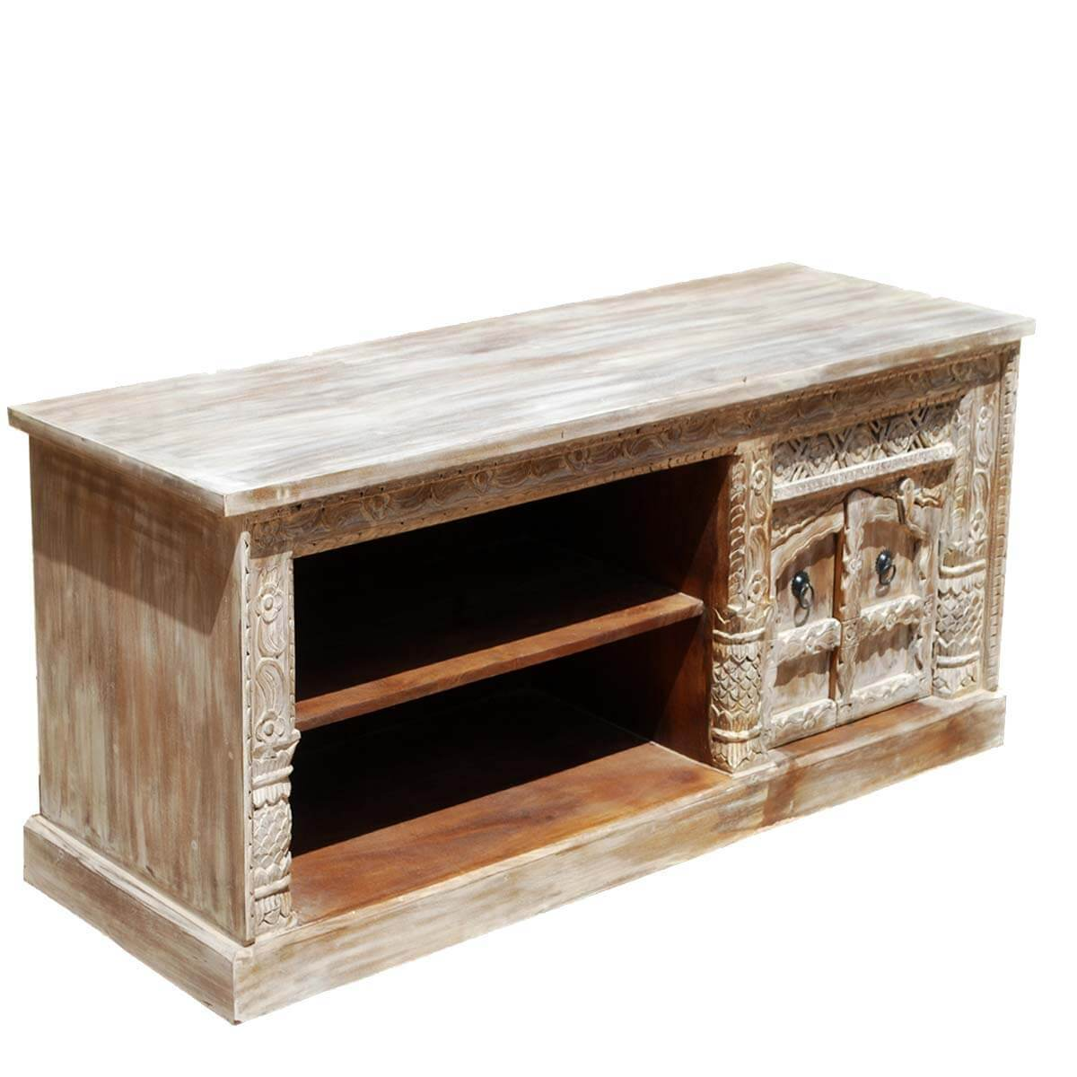 New Delhi Snowflake Solid Wood Rustic TV Stand Media Console