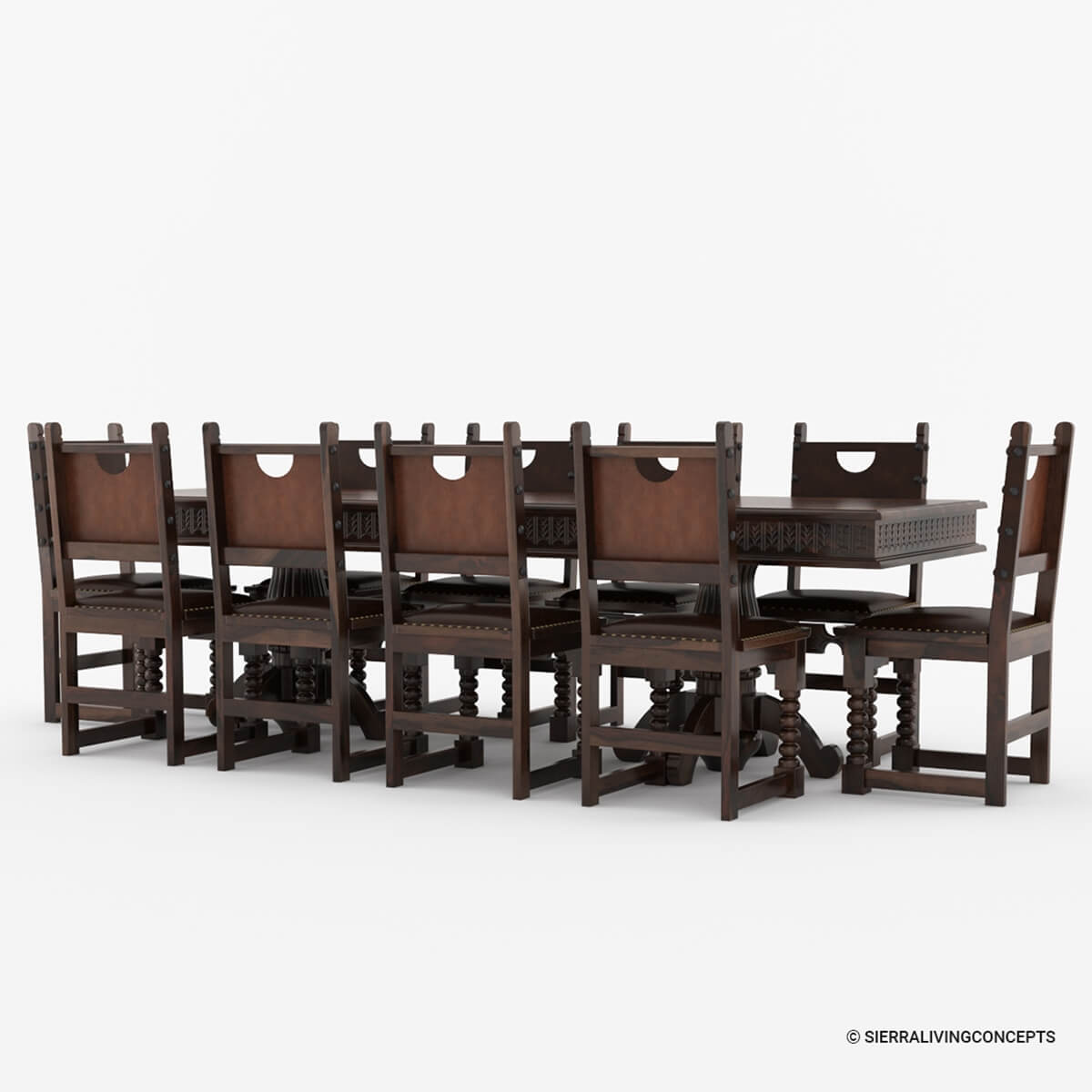 Rustic Dining Room Table Set: Nottingham Solid Wood Large Rustic Dining Room Table Chair Set