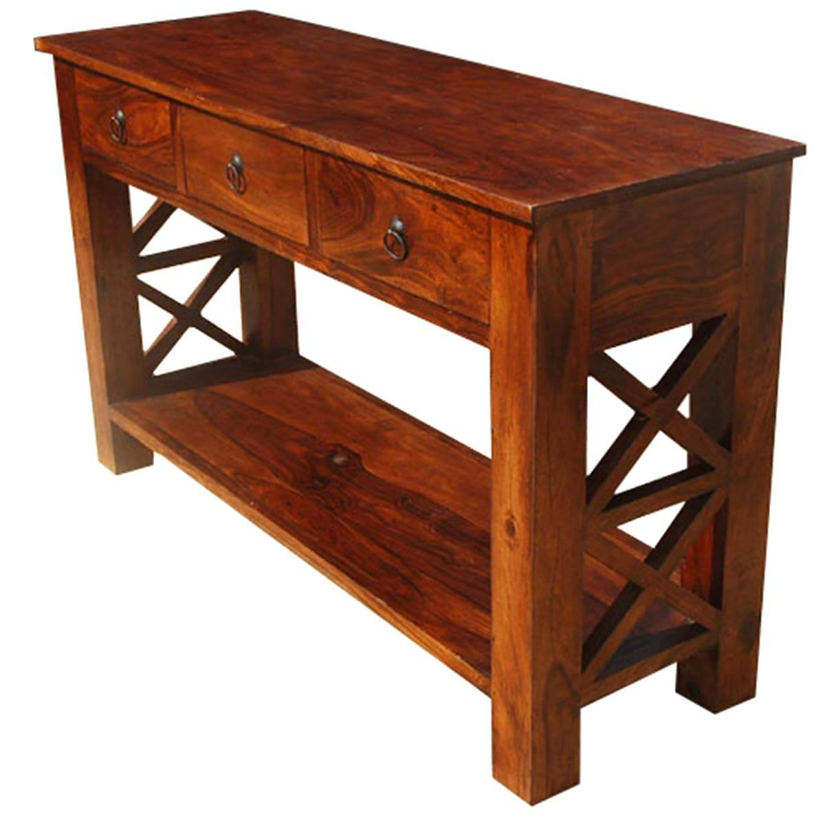 Solid Wood Oklahoma Farmhouse Console Table w 3 Storage Drawers