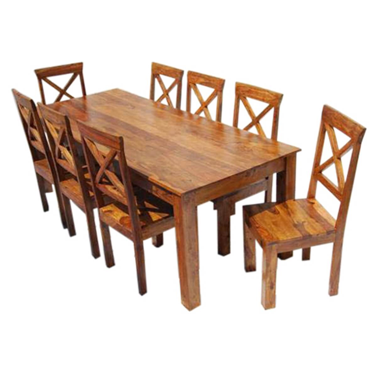 Rustic Solid Wood Large Square Dining Table Chair Set: Large Rustic Oklahoma Solid Wood Dining Table & Chair Set