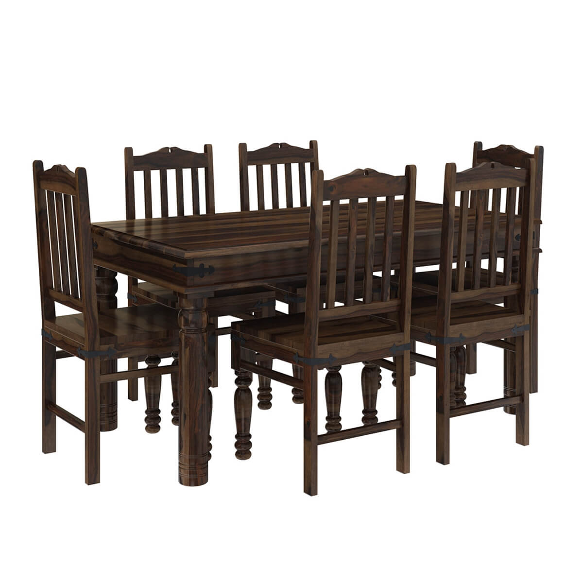 Farmhouse Dining Table: Oklahoma Farmhouse Traditional 5pc Solid Wood Country