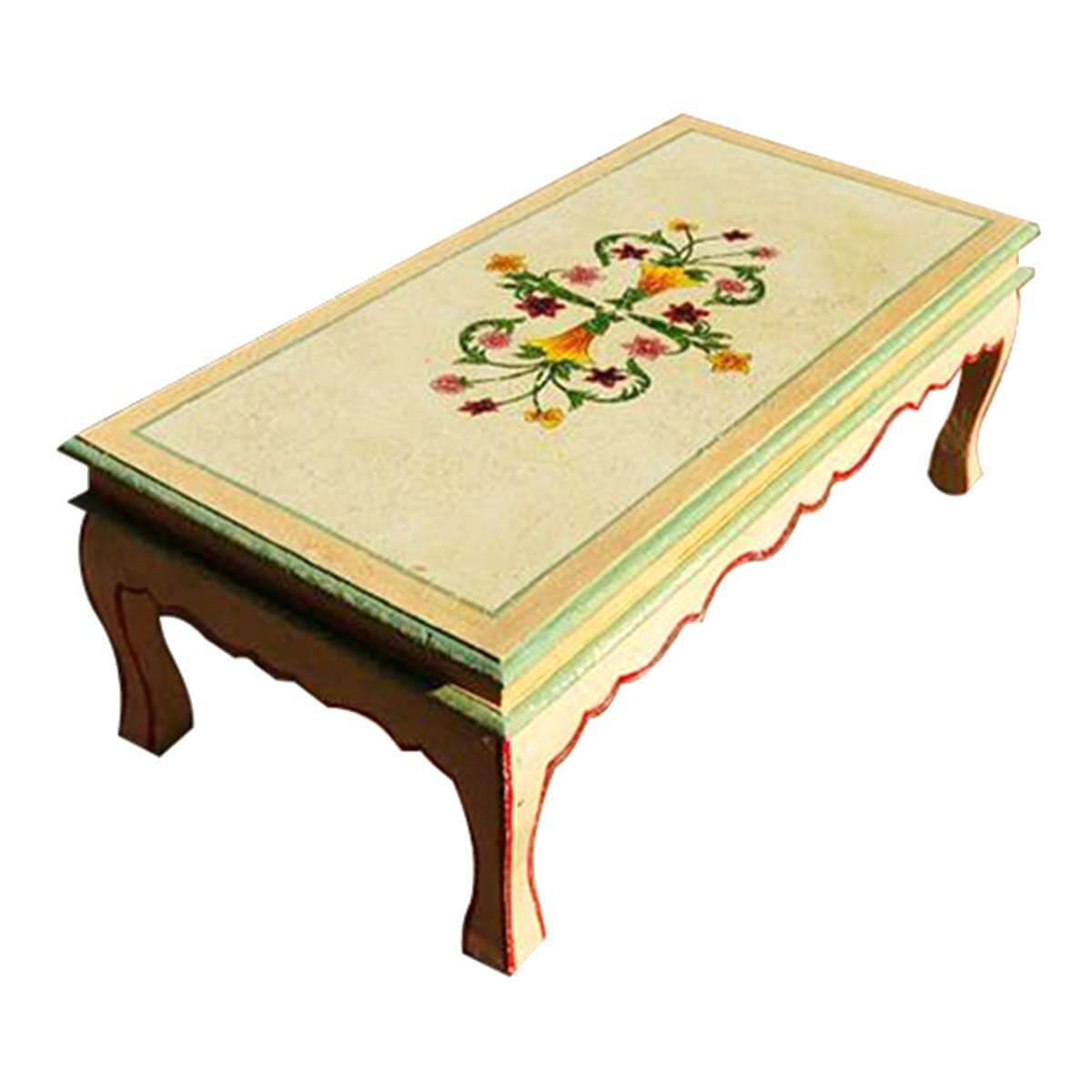 Beau Queen Anne Style Vintage Floral Hand Painted Coffee Table. Hover To Zoom
