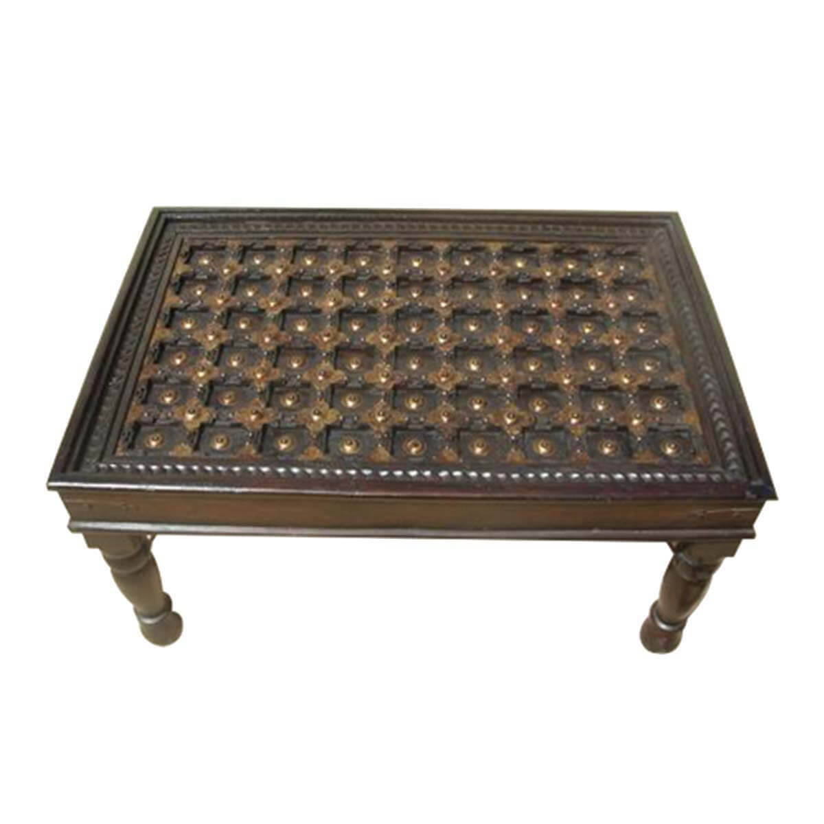 Tacoma Rustic 100% Handcrafted Brass and Solid Wood Coffee Table