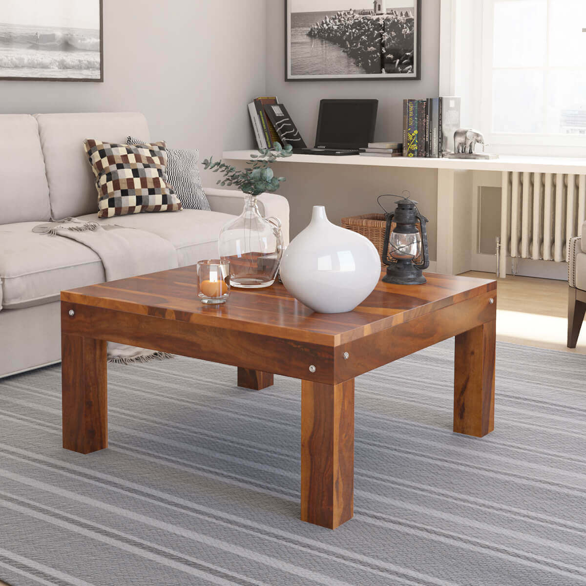 - Patet Contemporary Rustic Solid Wood Cocktail Square Coffee Table