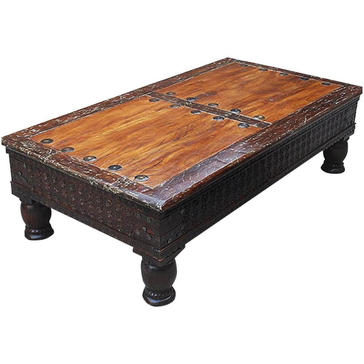 - Rustic Carved Coffee Table Made Of Acacia & Mango Wood