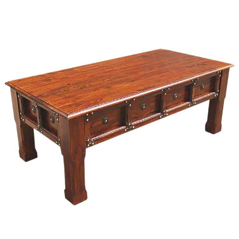 Renton Rustic Handcrafted Solid Wood Coffee Table W Iron Accents