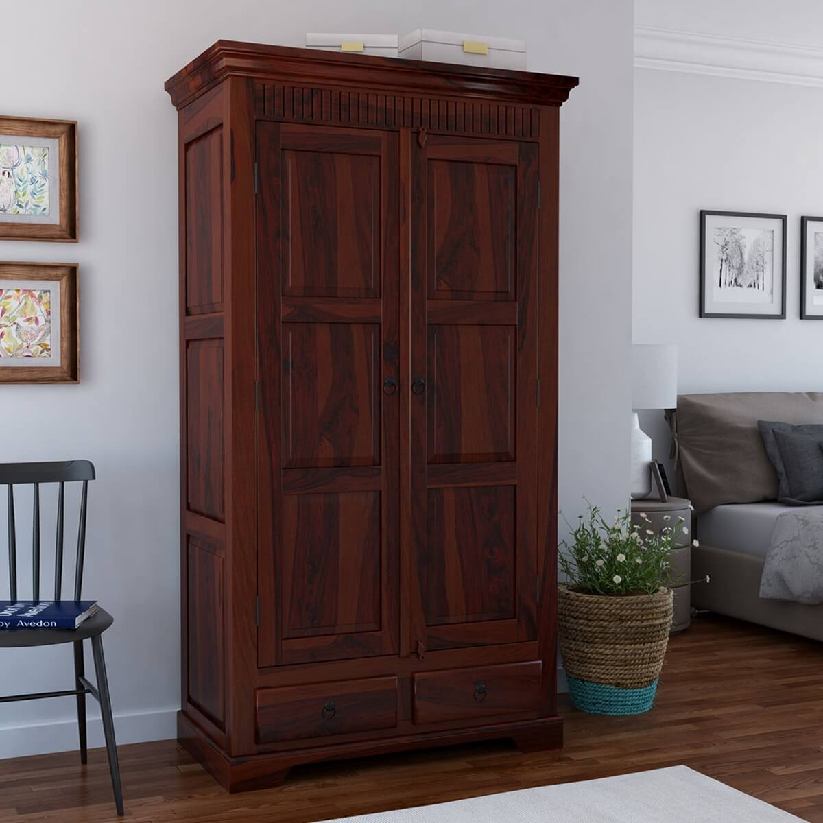 new concept deb60 b3ff1 Marengo Rustic Solid Wood Large Wardrobe Armoire W Shelves And Drawers