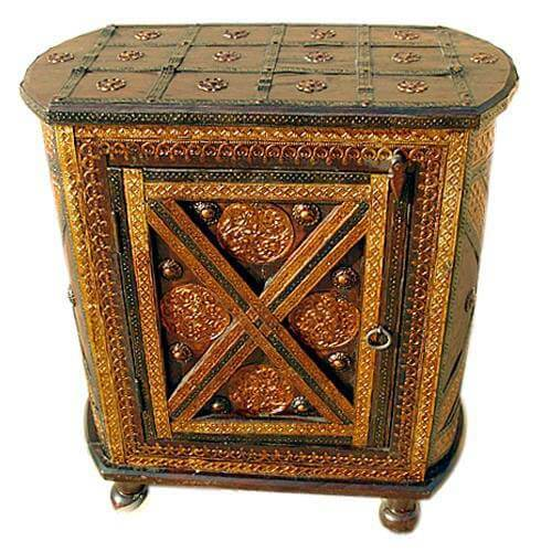 Deerfield Handcrafted Brass Inlay Solid Wood Antique Nightstand