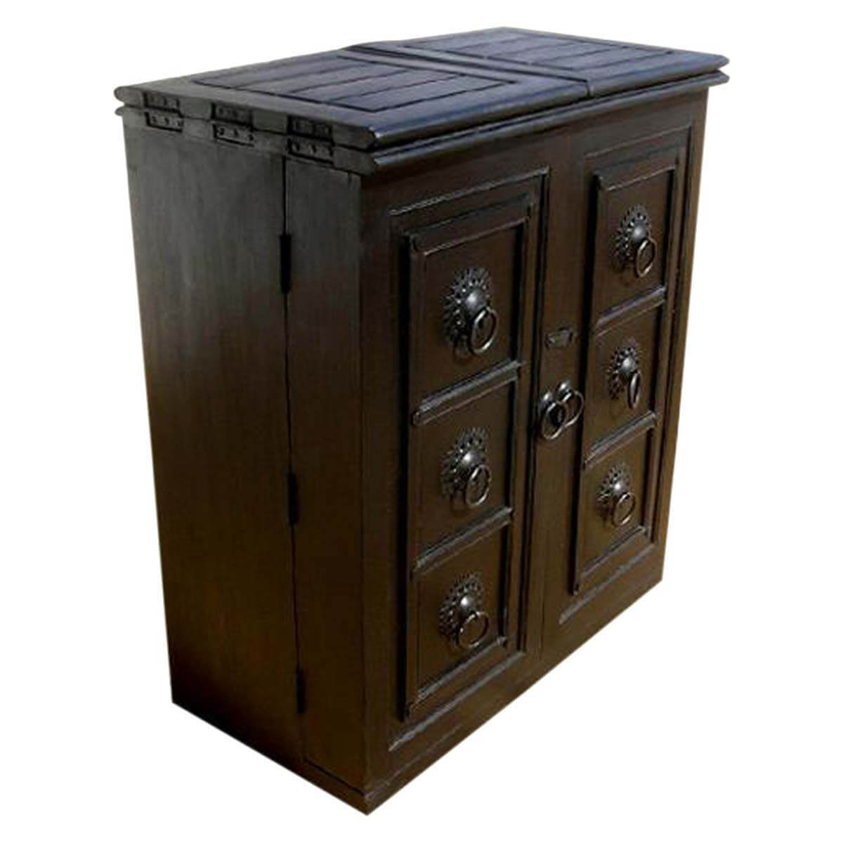 Hiram Black Solid Wood Expandable Wine Bar Cabinet