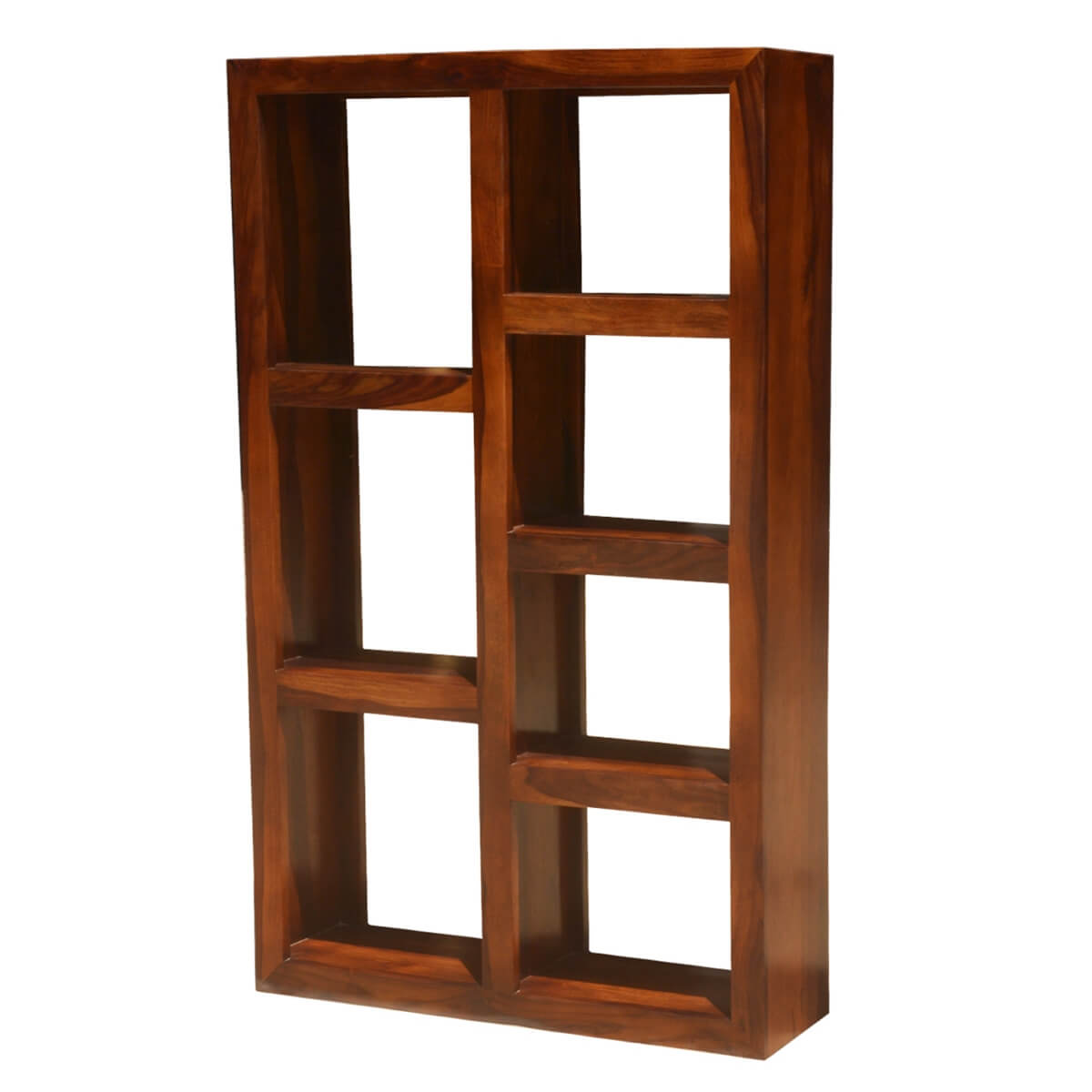 Duarte Rustic Solid Wood 7 Shelf Open Cube Bookcase