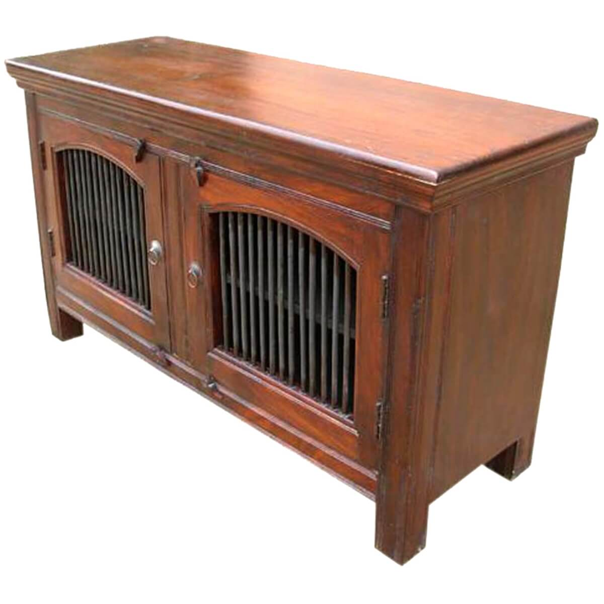 Black Oak Wood And Wrought Iron Sideboards 2