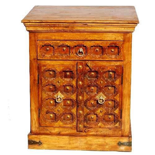 Ansley Solid Wood Handcarfted Brass Accent 1 Drawer Nightstand Cabinet
