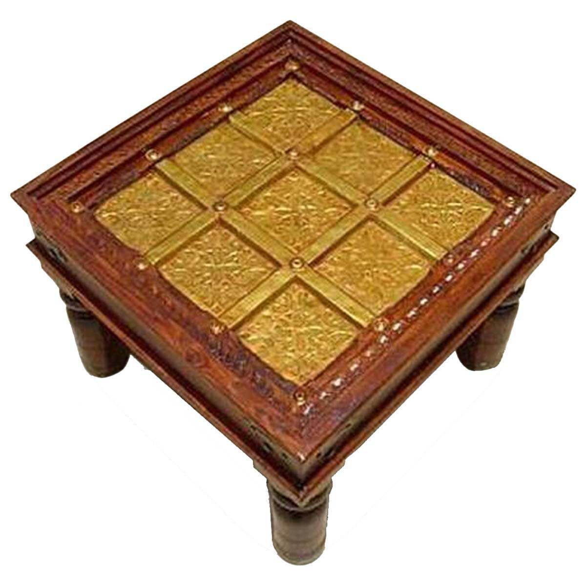 Virage Solid Wood Handcrafted Brass Work Square End Table