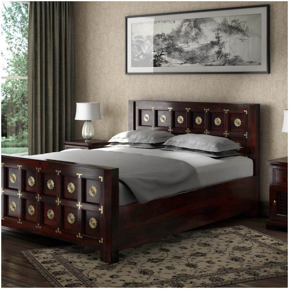 Madison Solid Wood Brass Accent Platform Bed w Foot & Headboard