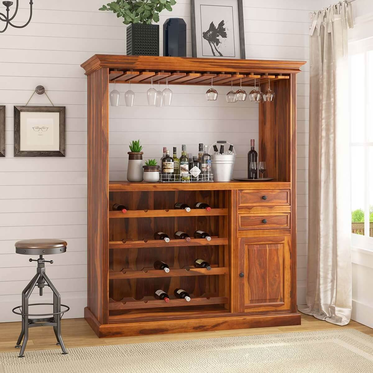 Houston Solid Wood Home Bar Cabinet with wine display rack
