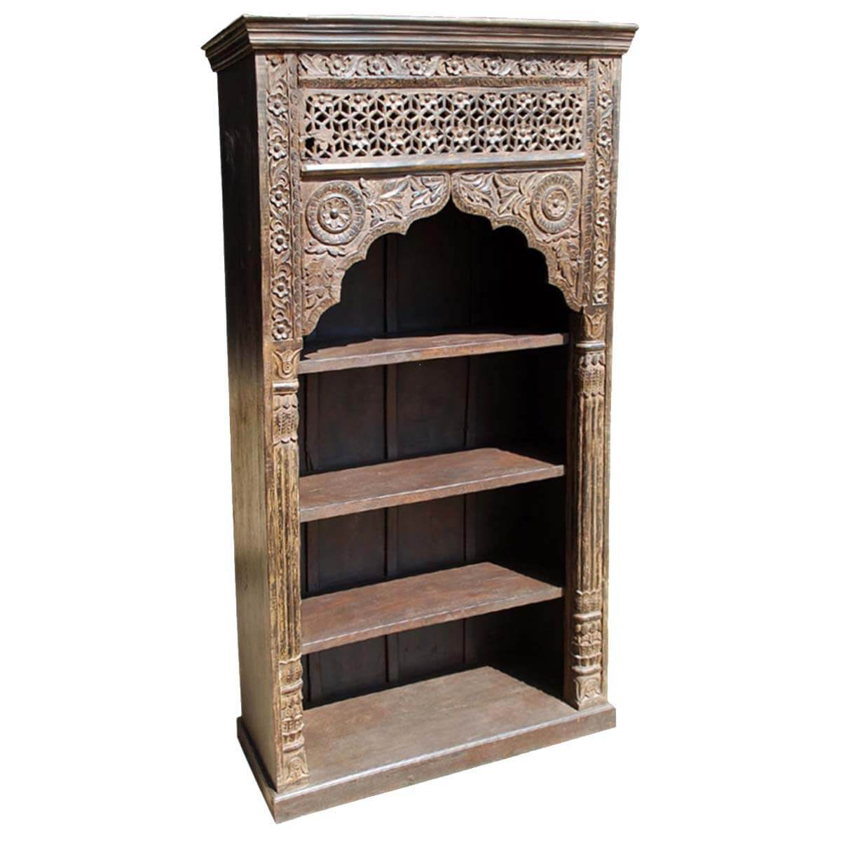 Monrovia 4 Shelf Vintage Rustic Solid Wood Arched Bookcase