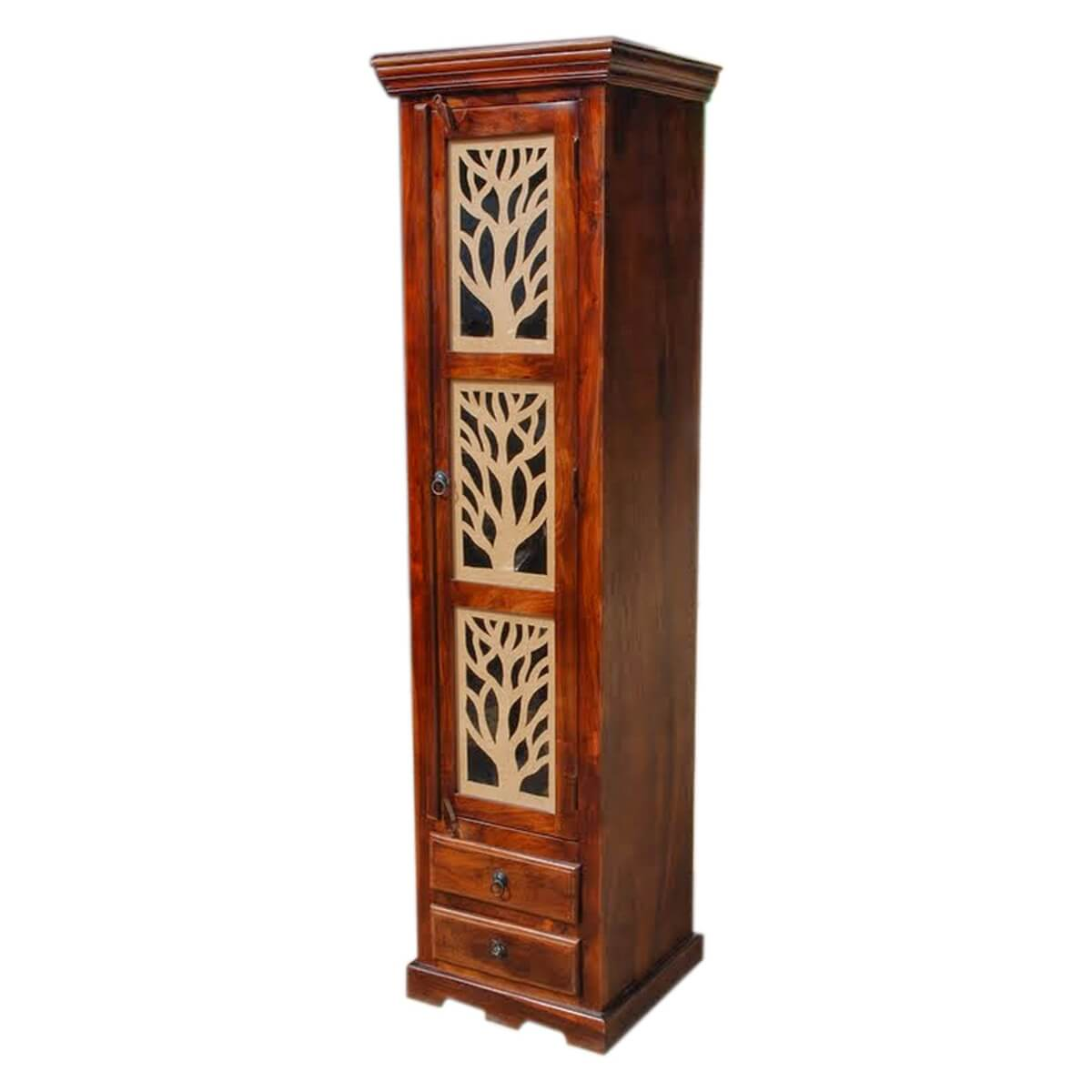 Mia Solid Wood Tall Narrow Armoire Display Cabinet With ...