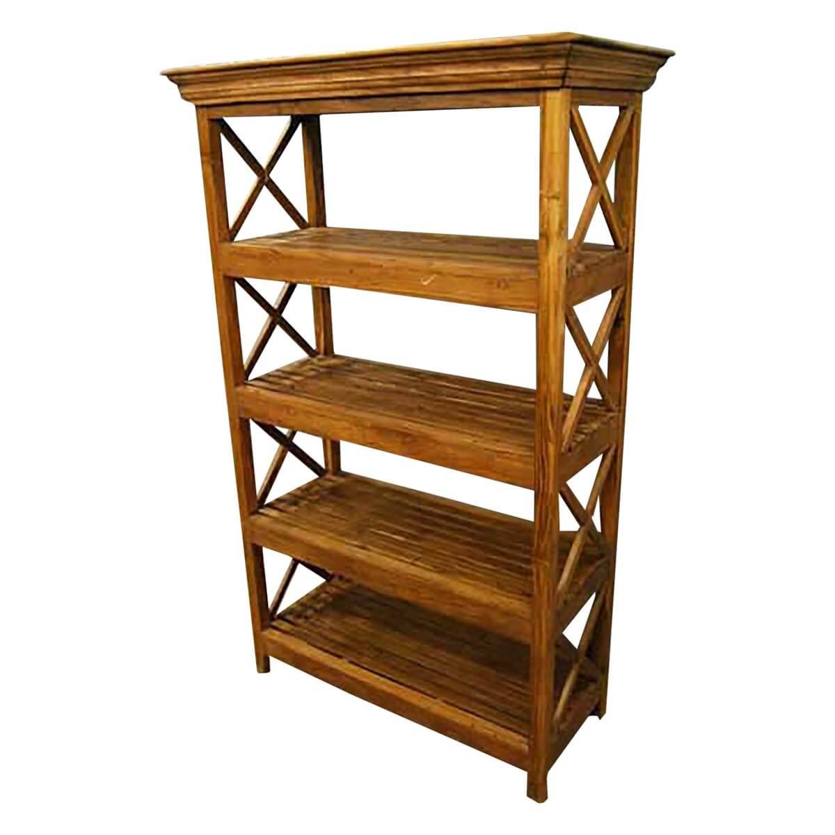 Novato 4 Open Shelf Rustic Solid Wood Bookcase