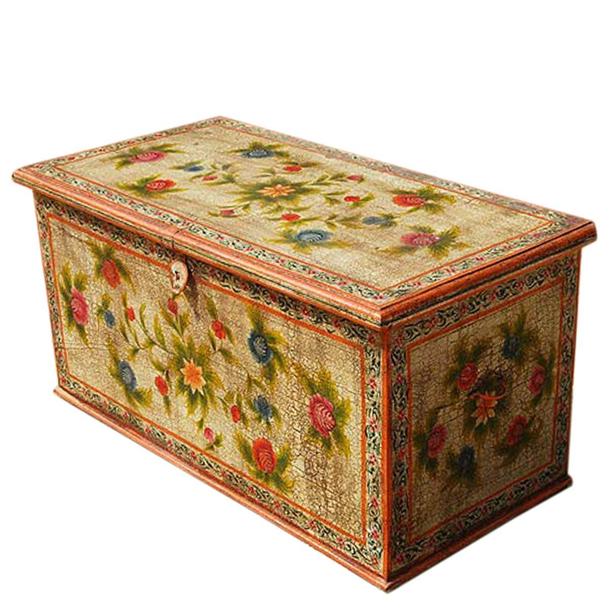 Tremendous Solid Hardwood Hand Painted Storage Trunk Coffee Table Onthecornerstone Fun Painted Chair Ideas Images Onthecornerstoneorg