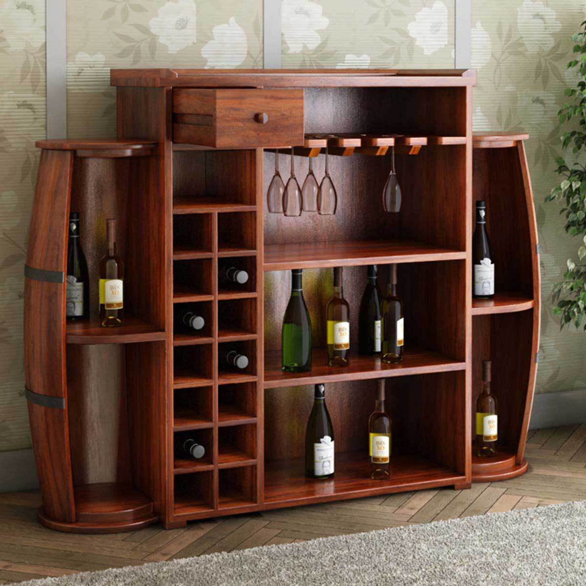 Home Bar Furniture: Harrod Handcrafted Rustic Solid Wood Barrel Design Home