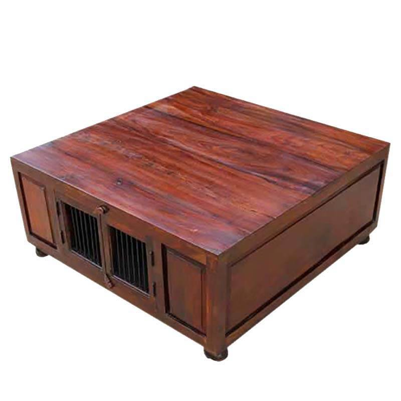 Solid Wood Square Cocktail Trunk Coffee Table With Storage