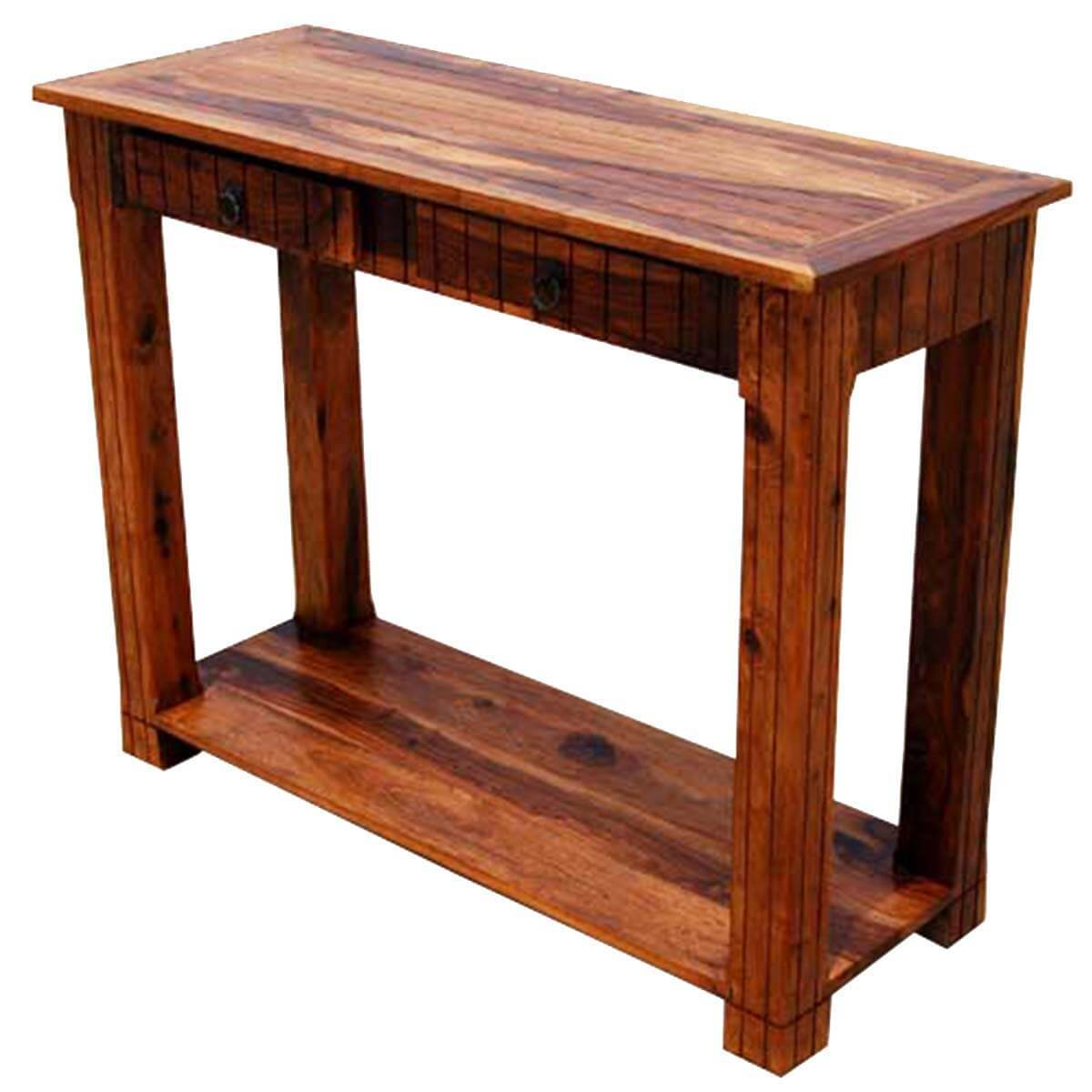 Picture of: Solid Wood 2 Storage Drawer Sofa Entryway Console Table