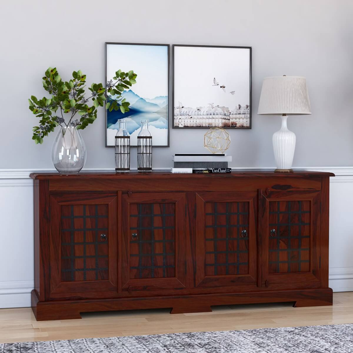 Sierra Solid Wood Rustic Large Buffet Cabinet